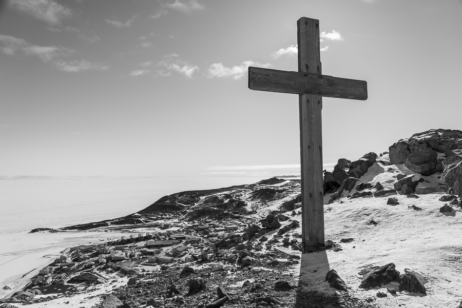 Cross erected by the crew of the Terra Nova expedition in 1912. The inscription reads: To Strive, To Seek, To Find and Not To Yield. And the names of the 5 lost on the return from the Pole, Scott, Wilson, Bowers, Oats and Evans.