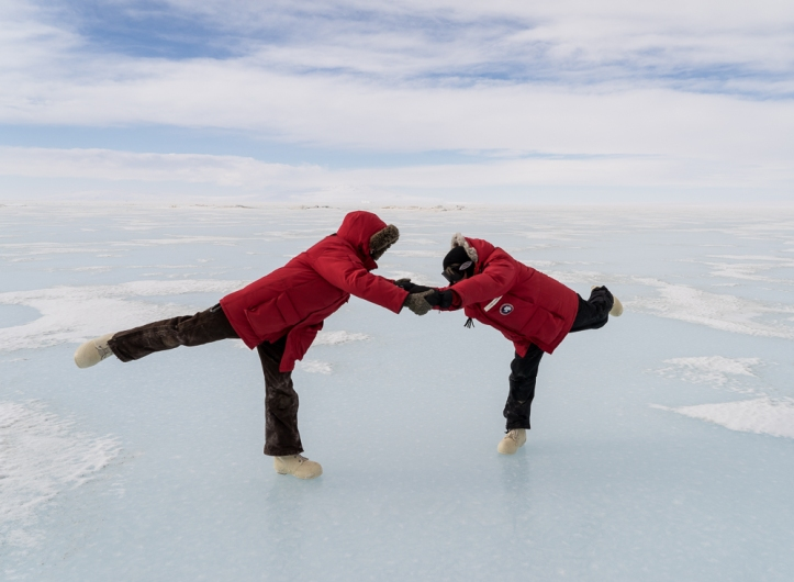 Amanda and Laura demonstrating their ice dancing skills.