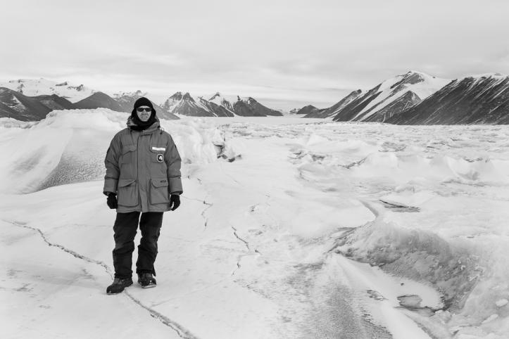 Polar explorer surveying the Ferrar Glacier environs.
