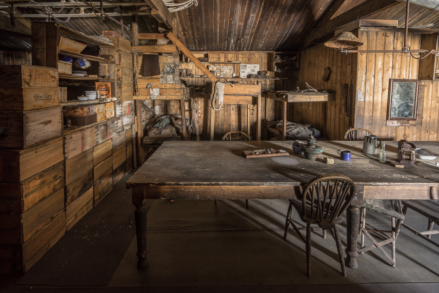 Cape Evans Hut, Wardroom Table and the Tenement's Bunks, Bowers & Cherry-Garrard on left, Oats in middle, Mears and Attkinson on Right