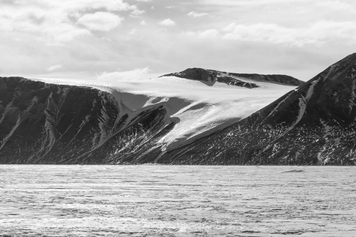 Looking back at the Double Curtain Glacier from across the bay.