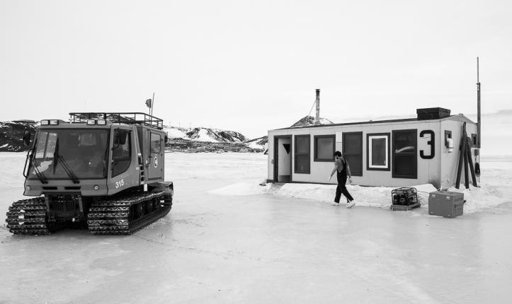 Arriving at Hut 3, with McMurdo station in the background.