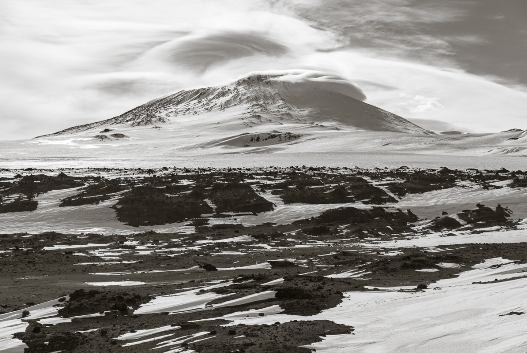 12,448 foot Mount Erebus from wind vane hill on Cape Evans.