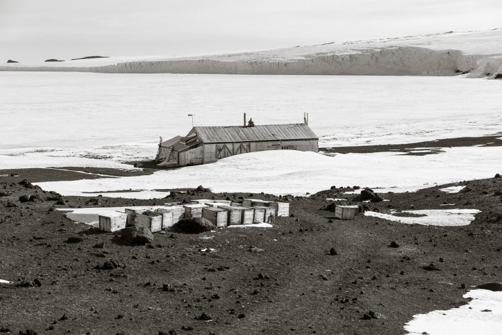 Cape Evans hut from wind vane hill.