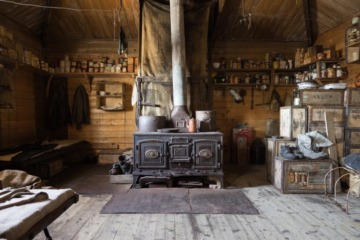 Inside Shackleton's hut.