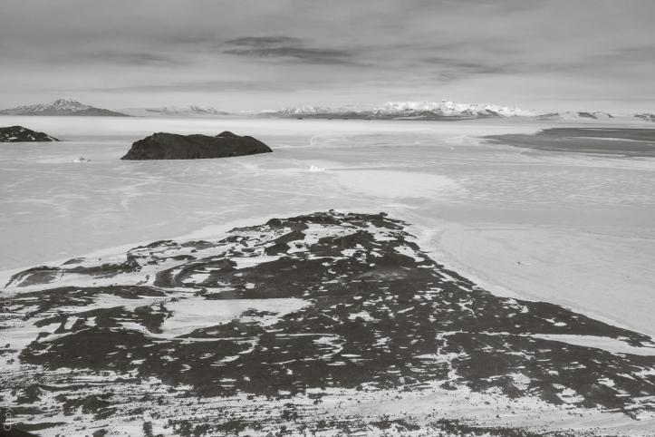Cape Evans, where Scott's Terra Nova hut is located. Inaccessible Island in the distance.