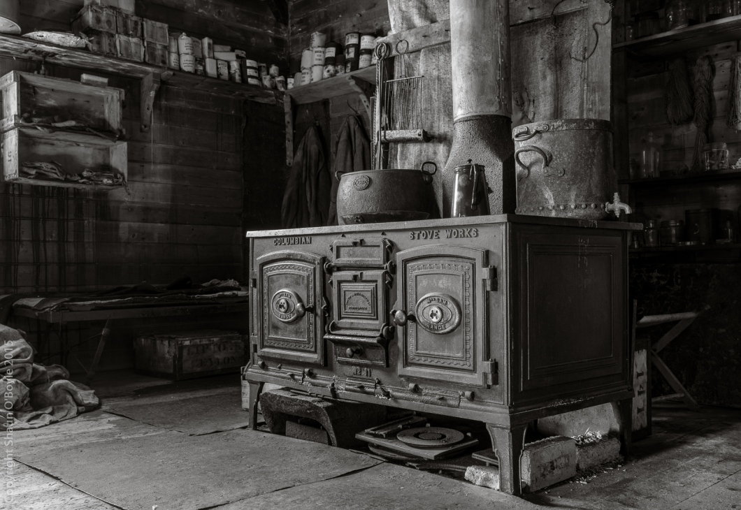 Shackleton's Stove, designed to burn anthracite coal, was the sole source of heat in the Cape Royds hut. Shackleton says in his book The Heart of the Antarctic, that the stove, once it was working properly, kept the hut 60-70 degrees warmer than the outside temperature.