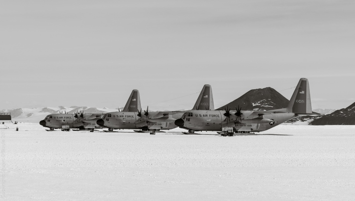 C-130 Hercules fleet at Willy Field. These aircraft fly to the South Pole, and make the run between McMurdo and Christchurch when the C-17's aren't flying.