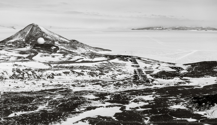 McMurdo Station, and on the right, the SuperDARN antenna array